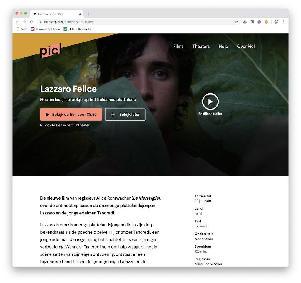 Filmpagina van Lazzaro Felice