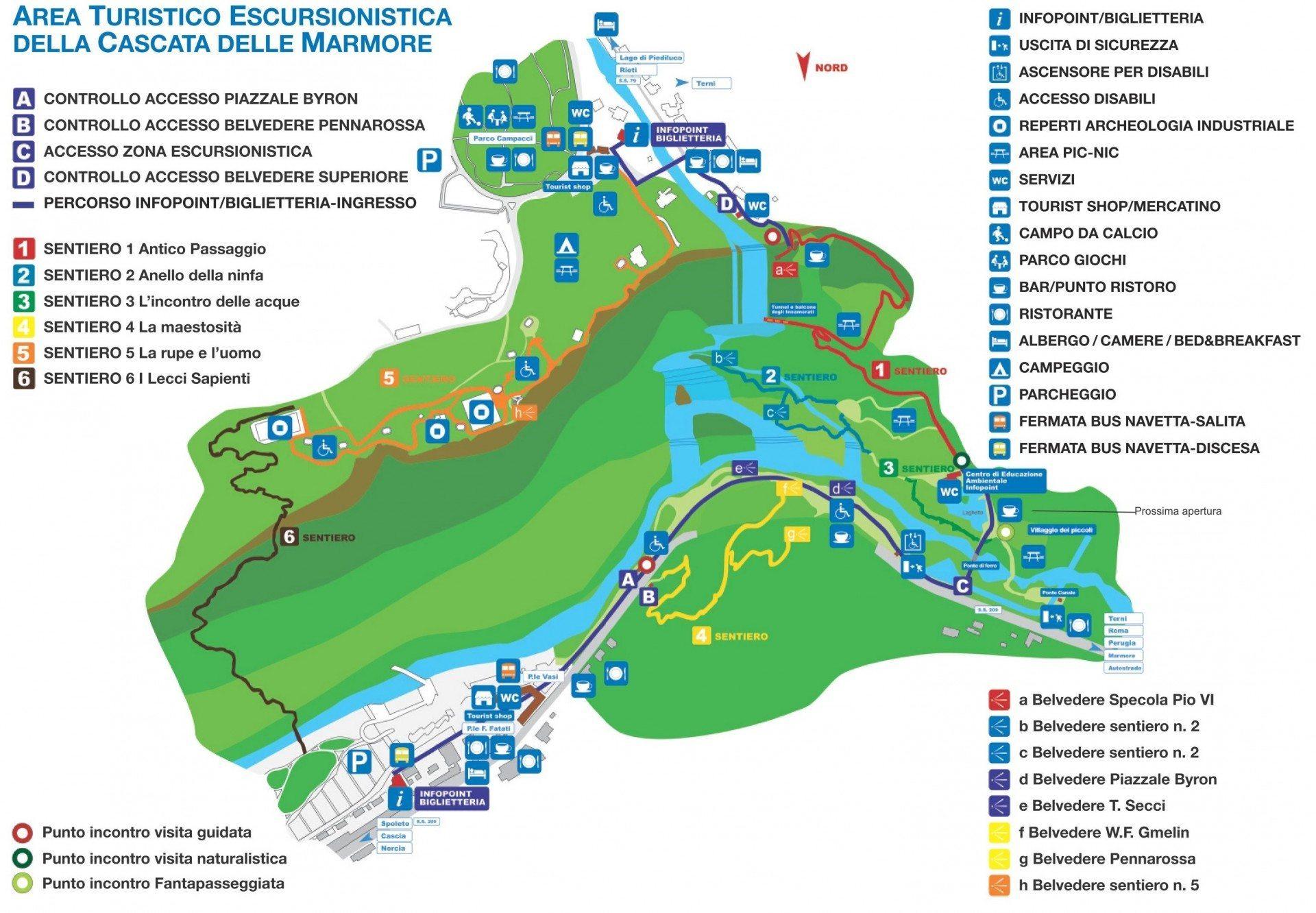 Kaart Parco Cascate delle Marmore