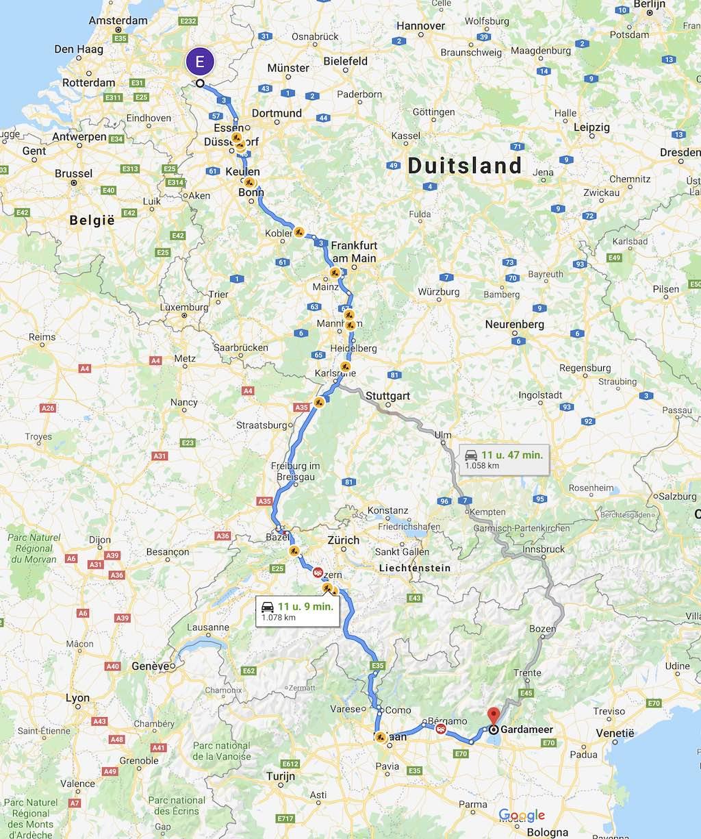 Onderweg naar Italië via Zwitserland of Oostenrijk
