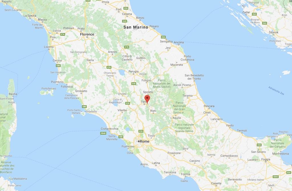 De ligging van Terni in Italië