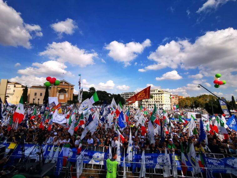 demonstratie Lega, FI, FDI 19 oktober Piazza San Giovanni Rome 1