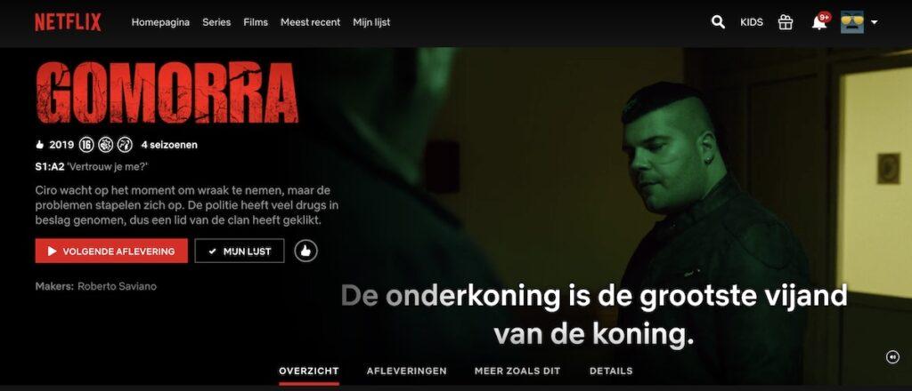 De Italiaanse serie Gomorra op Netflix