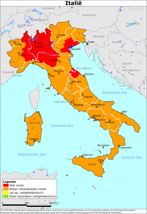 negatief reisadvies Italië
