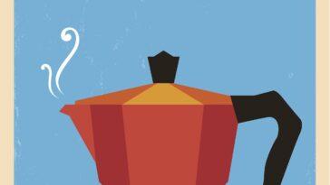 poster van een mokkapotje met daarboven Italiaanse koffie